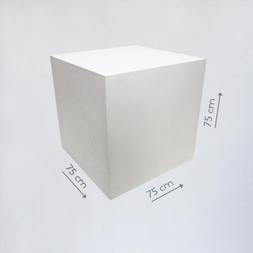 Деревянный куб белый 75 см