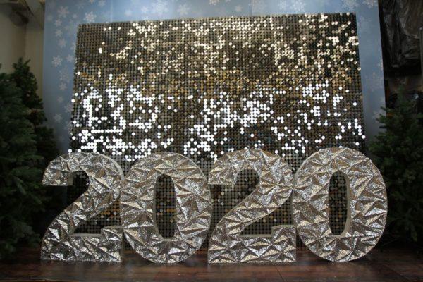 Фотозона с серебрянными пайетками