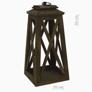 Деревянный фонарь коричневый малый