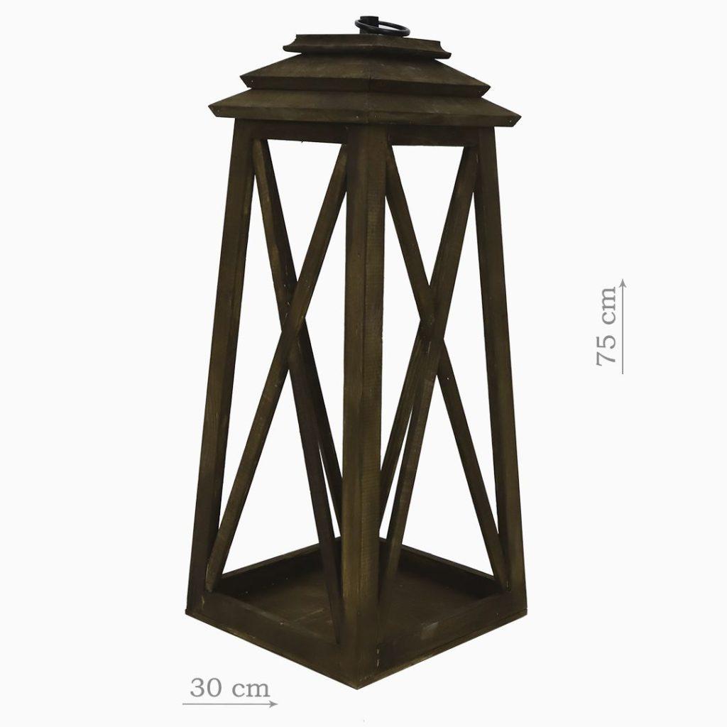 Деревянный фонарь коричневый средний