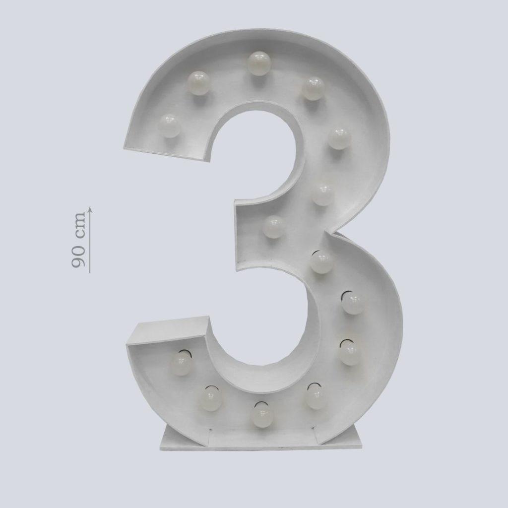 цифра три белая с лампочками