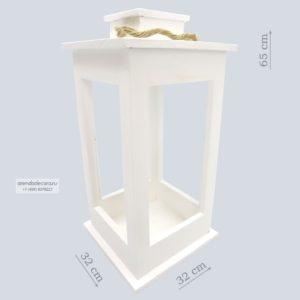 Деревянный фонарь белый большой