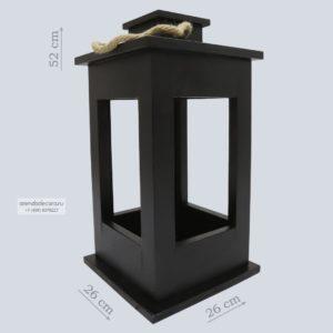 Деревянный фонарь черный малый